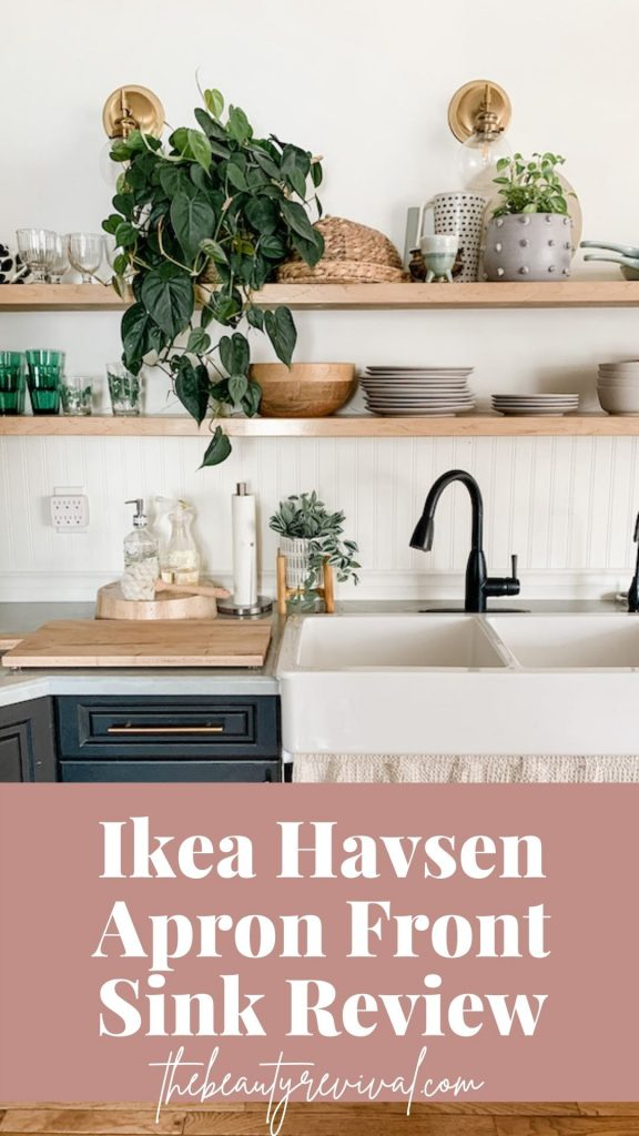 this is a pinterest pin for an Ikea haves Apron Front Sink Review