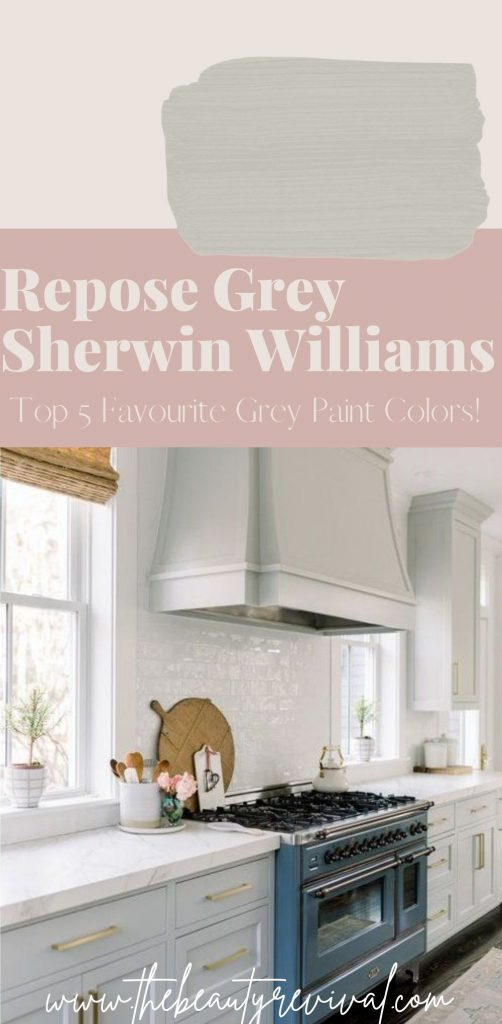 this is a pinterest pin for repose grey by Sherwin Williams