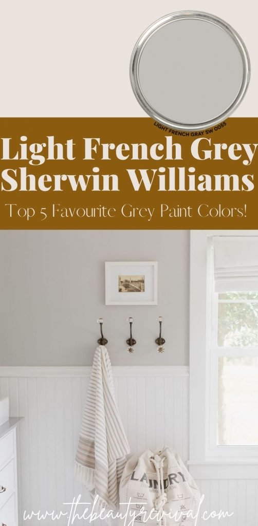 this is a pinterest pin for light French grey by Sherwin Williams