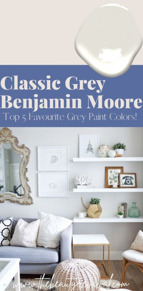 this is a pinterest pin for classic grey paint by Benjamin Moore