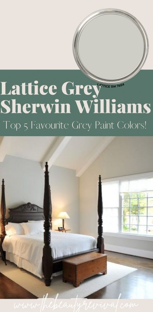 this is a pinterest pin for lattice grey by Sherwin Williams