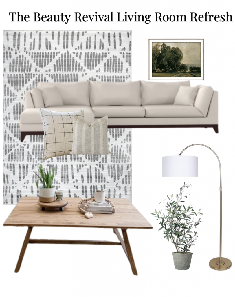 this is a graphic with modern farmhouse living room decor