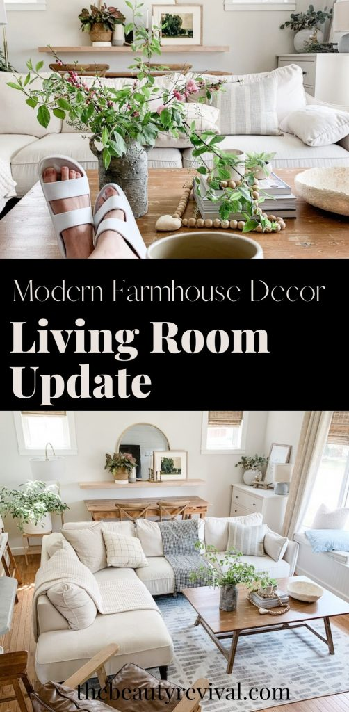 this is a photo of a pinterest pin for a modern farmhouse update