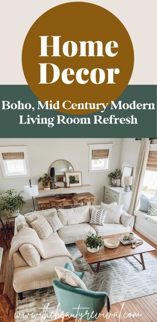 this is a pinterest pin for a boho mid century living room