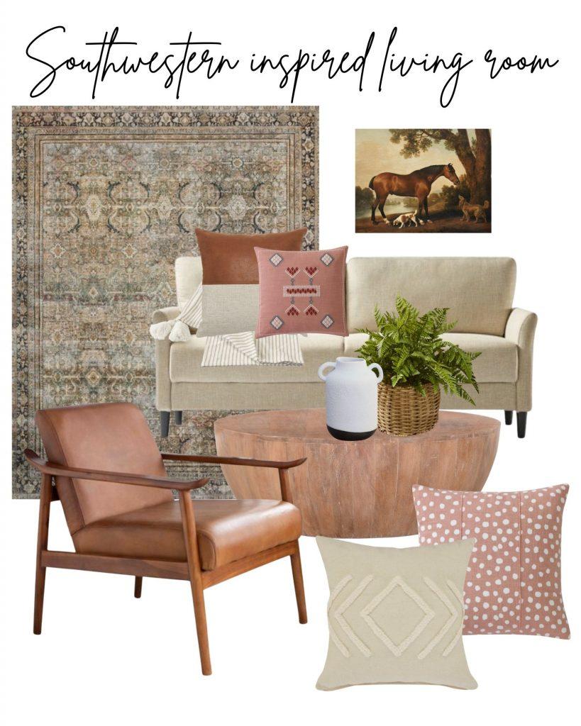 design board featuring fall southwestern living room decor