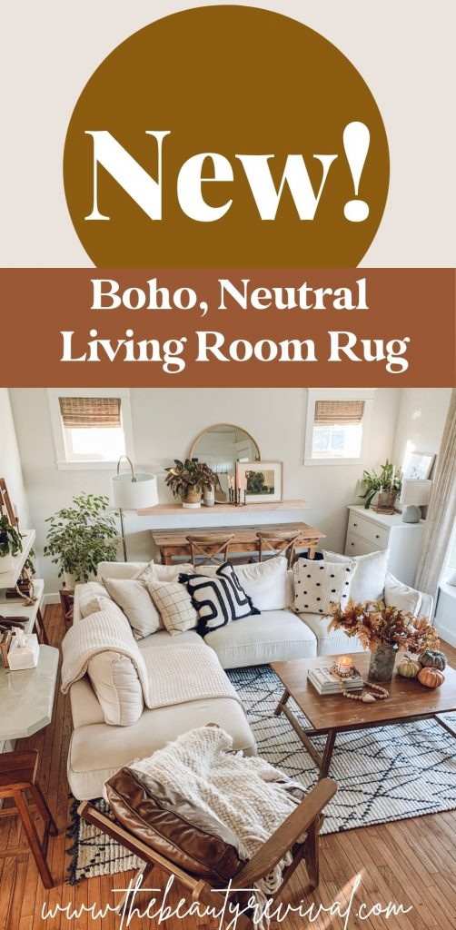 this is a pinterest pin for our new boho living room rug