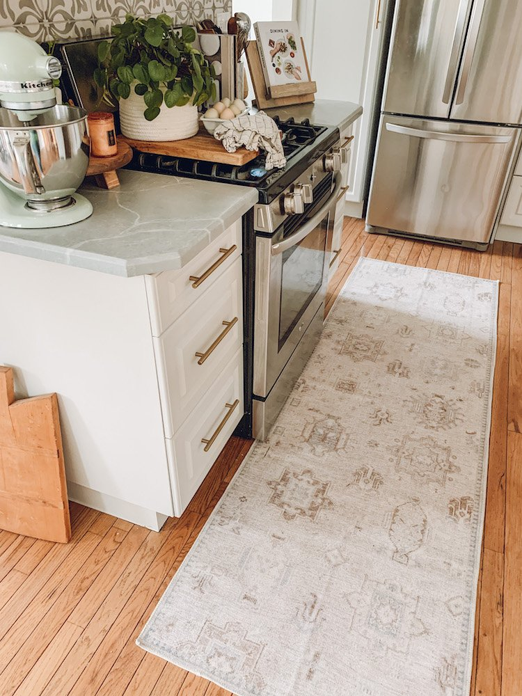 this is a photo of a washable rug in a kitchen