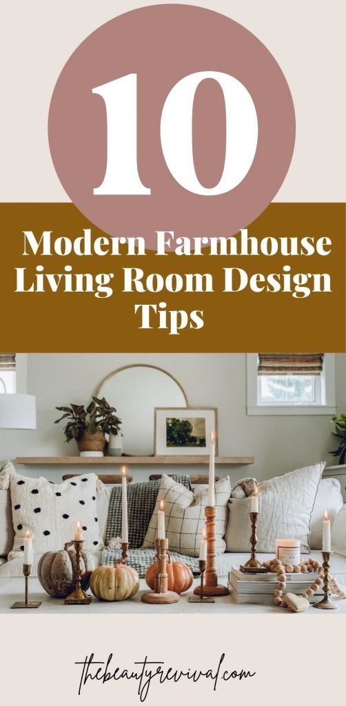 this is a pinterest pin for 10 modern farmhouse living room tips