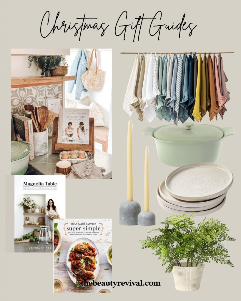 this is a pinterest pin full of gift ideas for a home cook, magnolia table cookbook, super simple cookbook, dutch oven, marble candle holders, adjustable cookbook stand and more