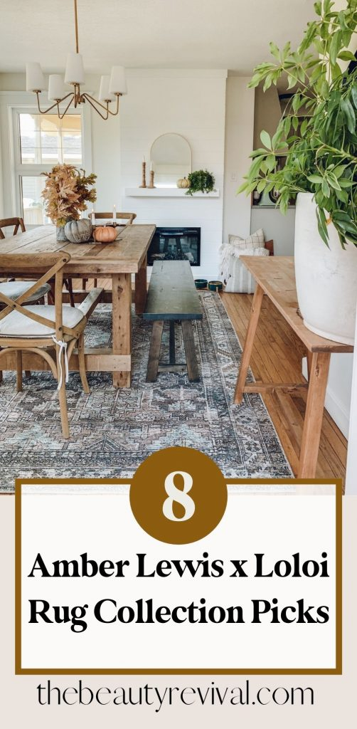 this is a pinterest pin featuring an amber lewisxloloi rug in a dining room with a rustic barn wood table and traditional gold light