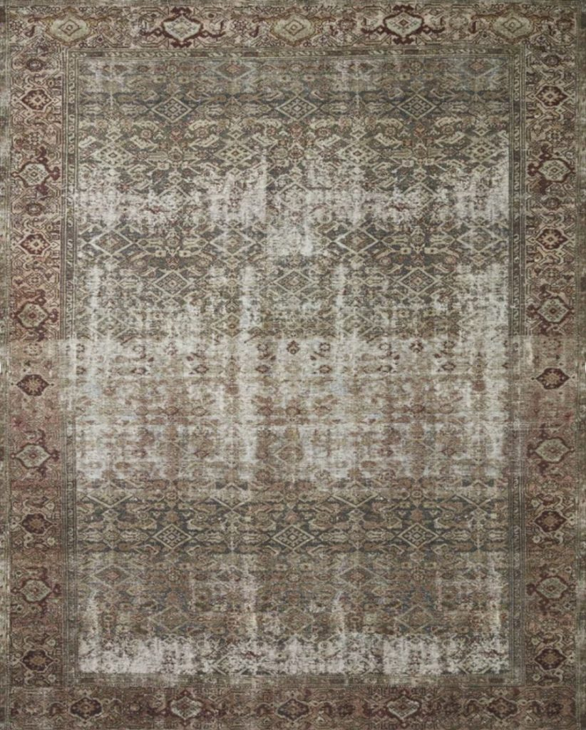 this is a screen shot of the Georgie oriental moss/salmon area rug