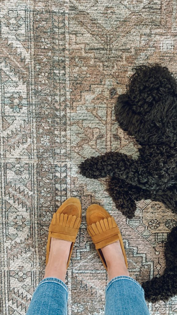 this is a photo of a woman Standing on an Amber Lewis x Loloi Billie clay/sage rug with a black cockapoo puppy laying on it asleep