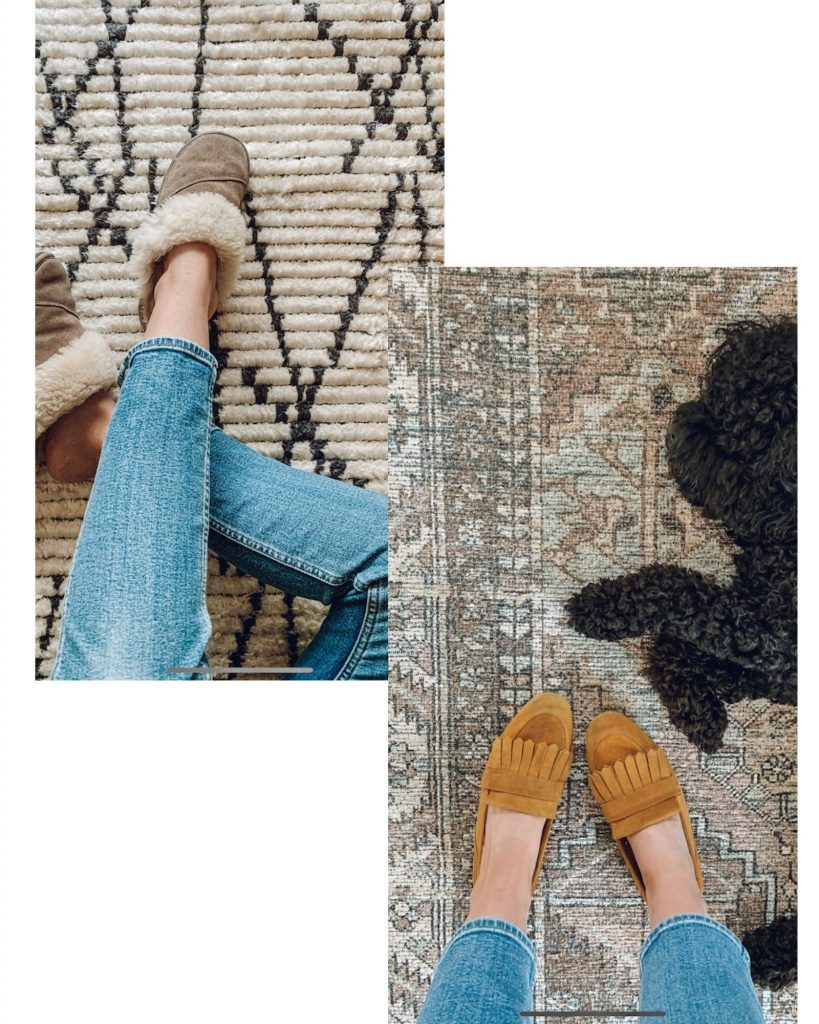 this is two photos of a geometric rug and a traditional printed rug both from loll