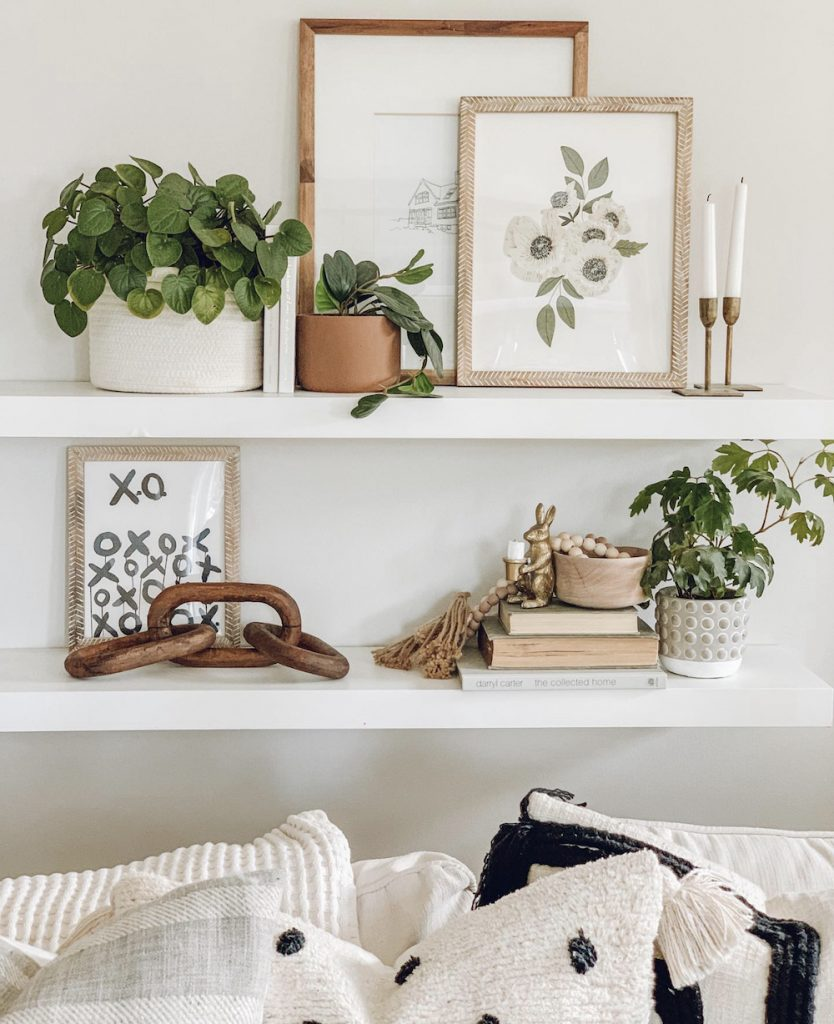 this is a photo of floating shelves and modern, farmhouse decor